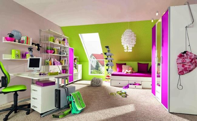 Dormitorio juvenil verde y morado decoraci n de - Dormitorio verde ...