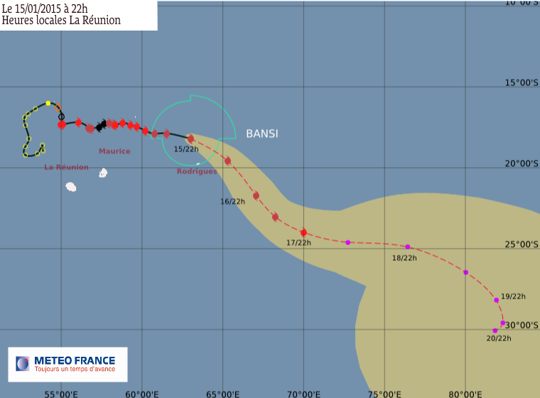Cyclone tropical intense Bansi et la dépression tropicale 6: le point à 22h