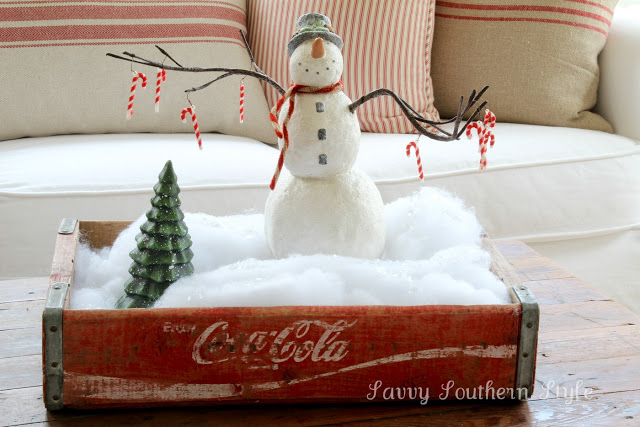 Snowman in a Coke Crate winter / Christmas centrepiece, by Savvy Southern Style, featured on Funky Junk Interiors
