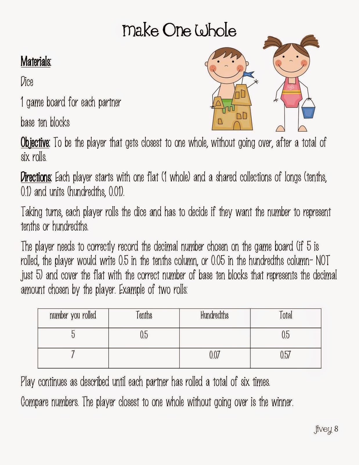 Freebie Math Game with IDeas by Jivey