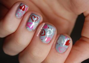 desenhos nail art corações