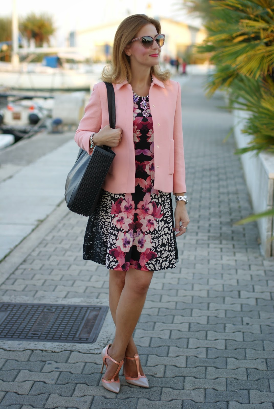 zara pink jacket, h&m tropical dress, low cost outfit, Fashion and Cookies, fashion blogger