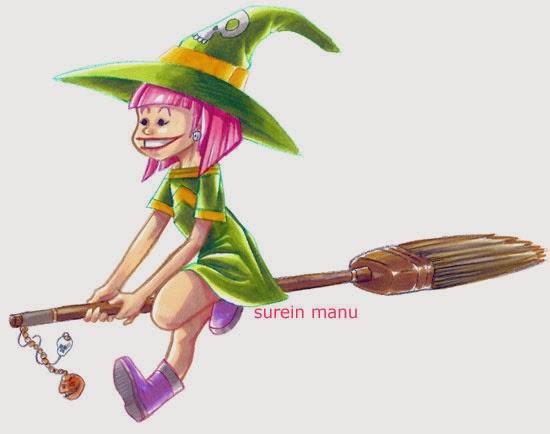 une sorcière coquette sur son balai