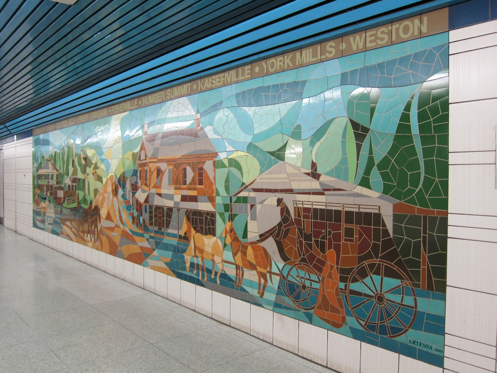 Mural at North York Centre station by Susana and Nicholas Graven, southbound platform.
