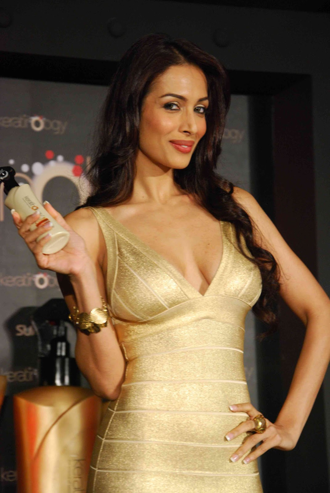 Malaika Arora in Golden Dress 1 - Malaika Arora in Golden Dress at Sunsilk event