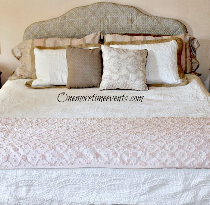 using a comforter to recover headboard at One More Time Events.com