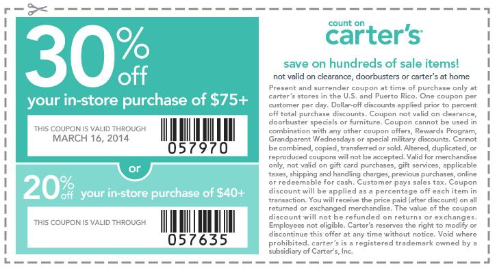 Carters coupons 2019