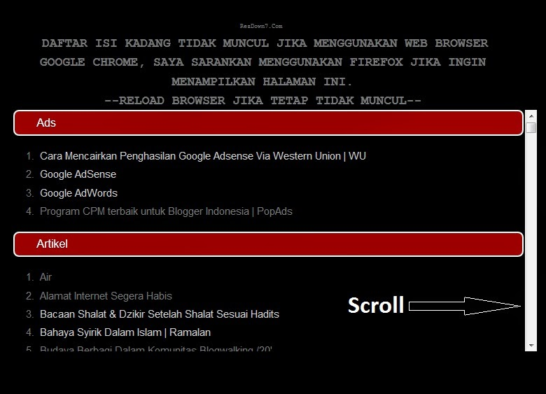 membuat scroll mudah,scroll sederhana, scroll dipostingan