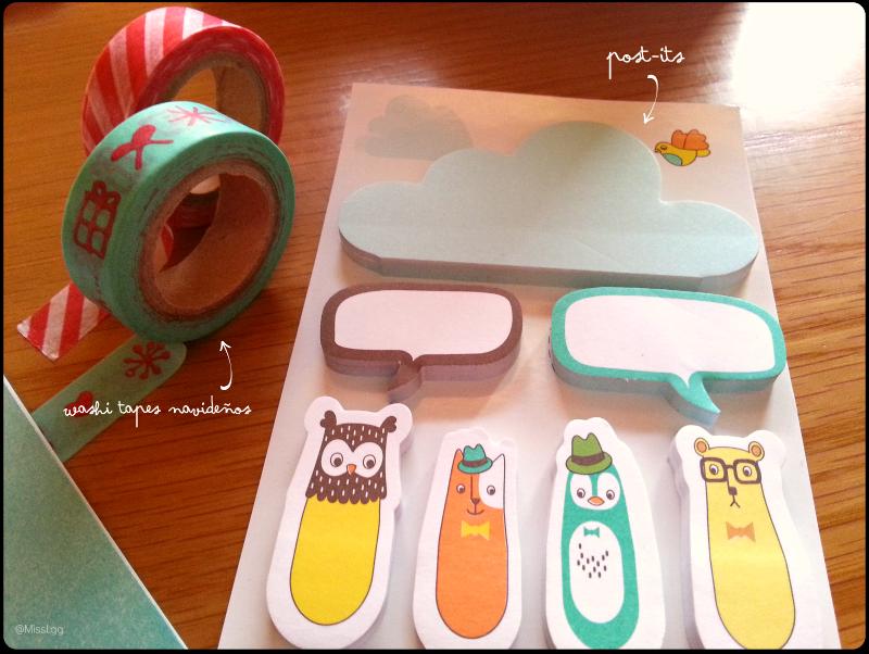 regalos amigo invisible niña bonita washi tapes y post its papelería bonita