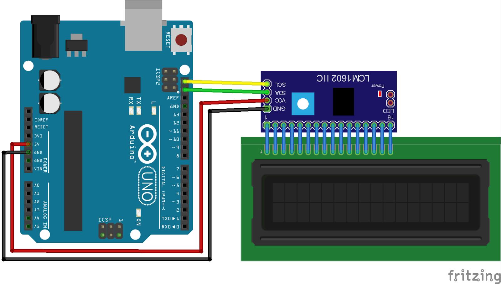 Connect to i2c i2c/SPI LCD Backpack Adafruit