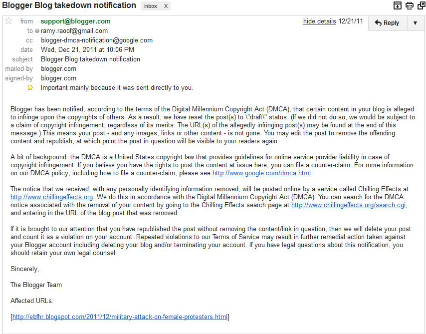 General Information - DMCA Blogger+Blog+takedown+notification