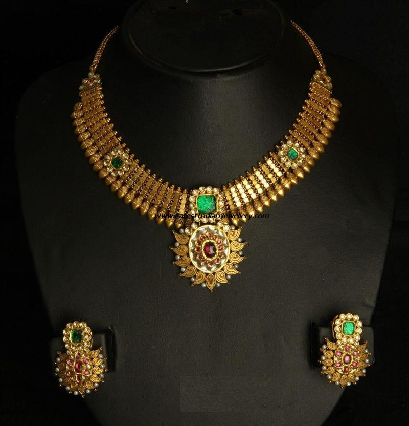 Indian Antique Gold Necklace Sets Antique Necklace Set With