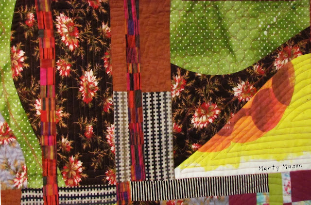 """Improv Curve Sampler Quilt .."""".Here Kitty, Kitty"""" by Marty Mason"""