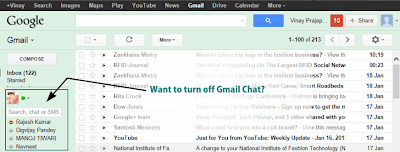 Want to turn off Gmail chat