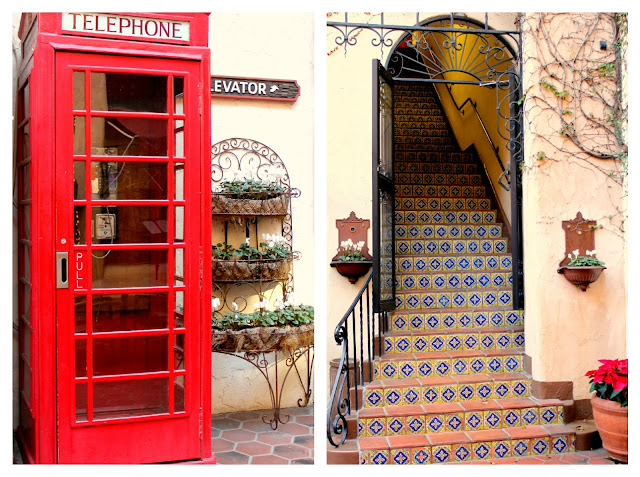 red telephone booth and mediterranean tile stairs- Santa Barbara, California