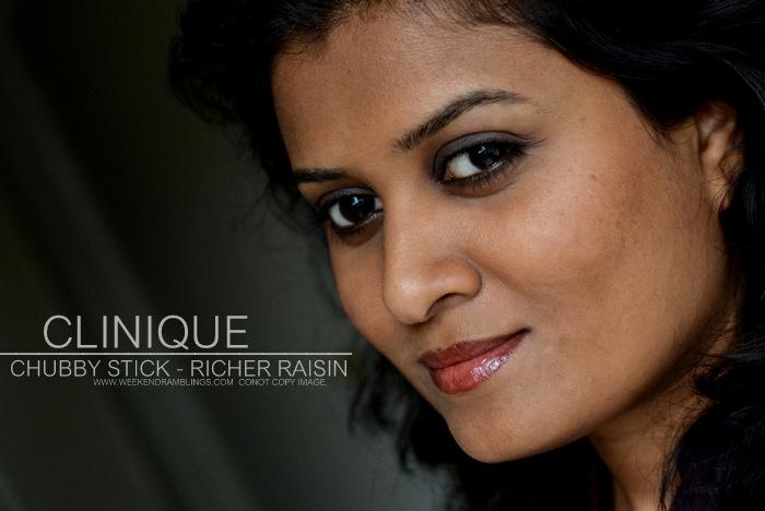 Clinique Chubby Stick Richer Raisin Indian Darker Skin Review Swatch FOTD Makeup Beauty Blog