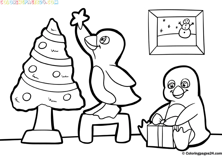 Christmas penguin coloring pages - photo#15