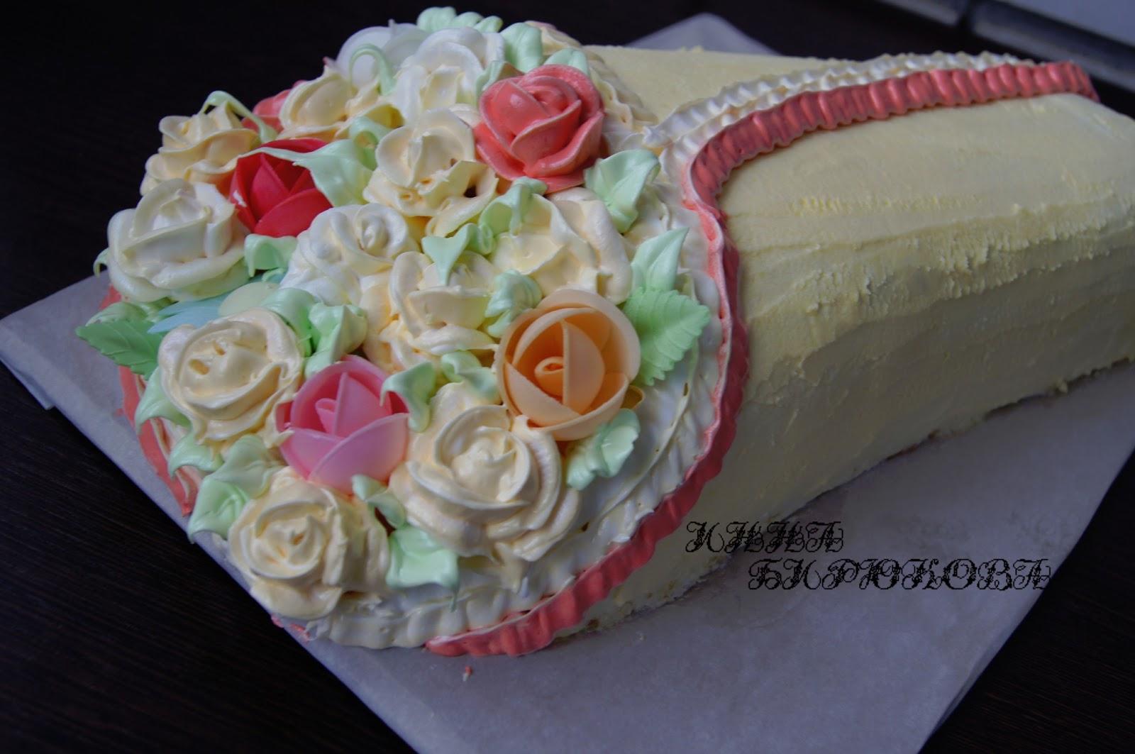 Цветы из крема для торта своими руками 8