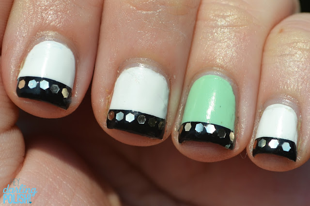 Nails, Nail Art, New York Color French White Tip, Sally Hansen Mint Sorbet, Sinful Colors Black On Black, Glequins, Tape Manicure