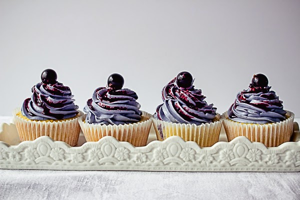 Lemon Cupcakes with Blueberry Buttercream