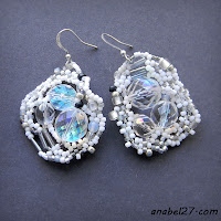 boho bohemian jewelry beadwork earrings white wedding bride