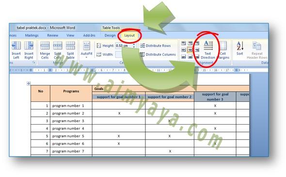 Gambar: Cara membuat teks judul (header) tabel menjadi Vertikal di Microsoft Word