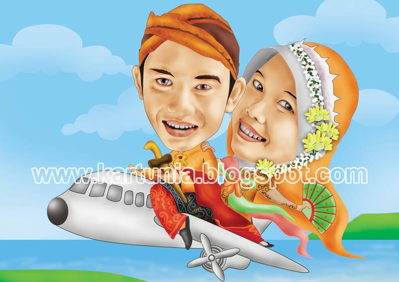 Karikatur Pernikahan Naik Pesawat