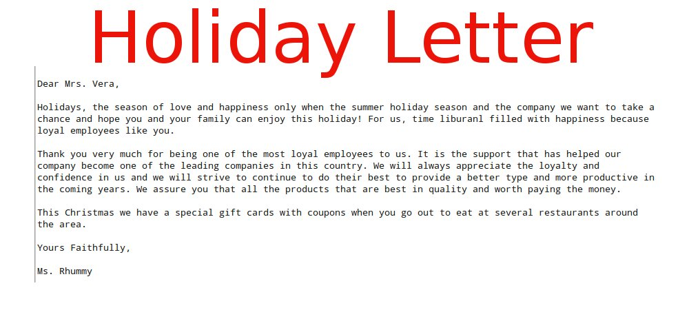 business letter holiday