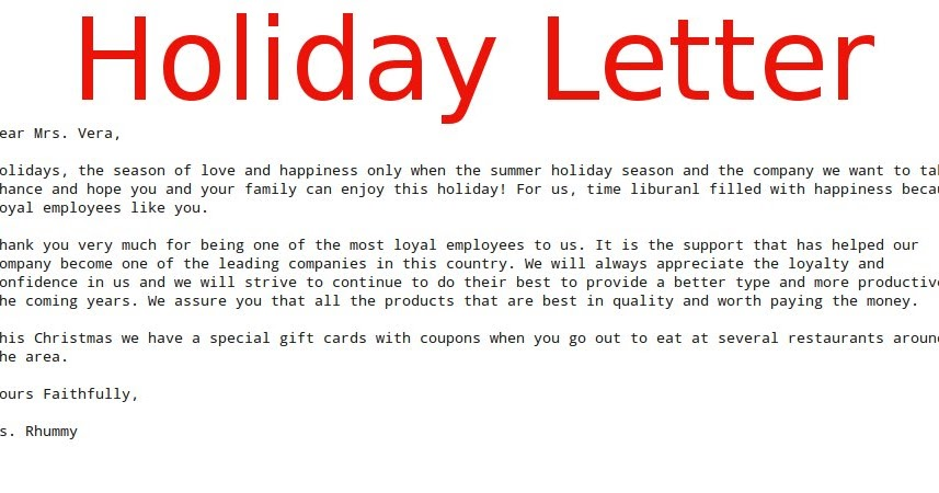 Business Letter Holiday ~ Samples Business Letters