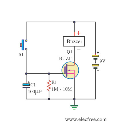 Simple Dc Timer Using Mosfet Onoff on solenoid wire