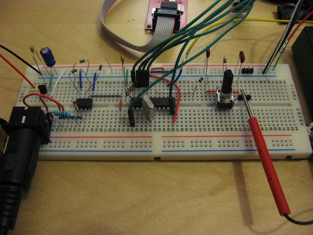 SX-150 MIDI interface breadboard