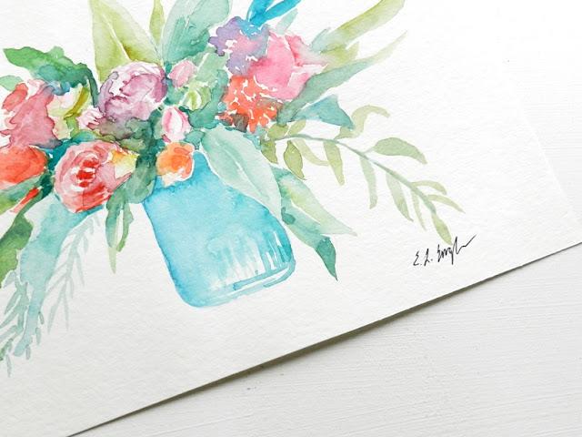 Original Watercolor Flowers by Elise Engh