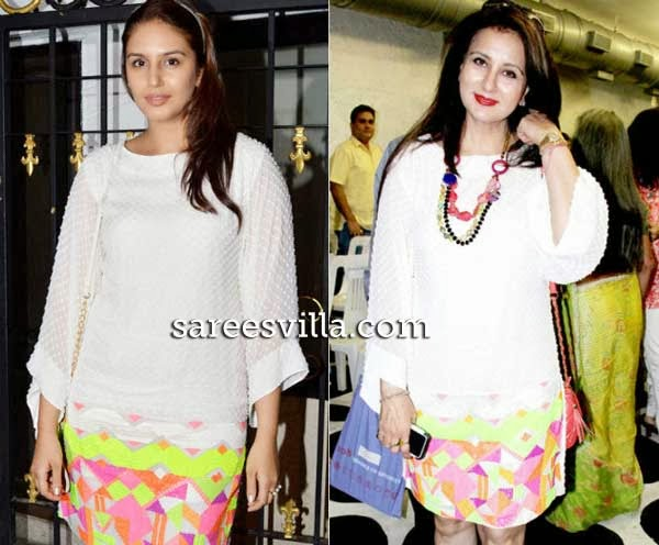 Humaa Qureshi and Poonam Dhillon in identical dress