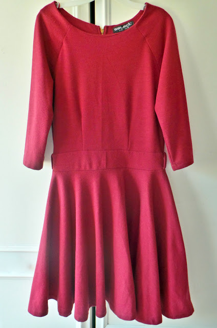Haul - Thrifty Charity Shop Weekend Fashion Buys Burgundy Skater Dress