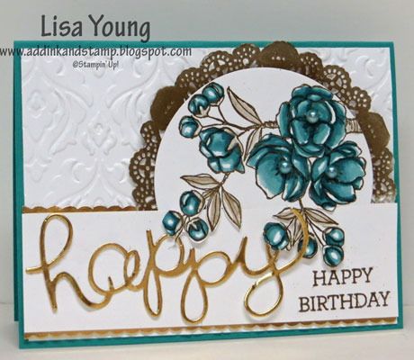 Stampin' Up! Indescribable Gifts stamp set embossed in gold and colored with Bermuda Bay Blendabilities. Happy Birthday sentiment and doily also embossed in gold.