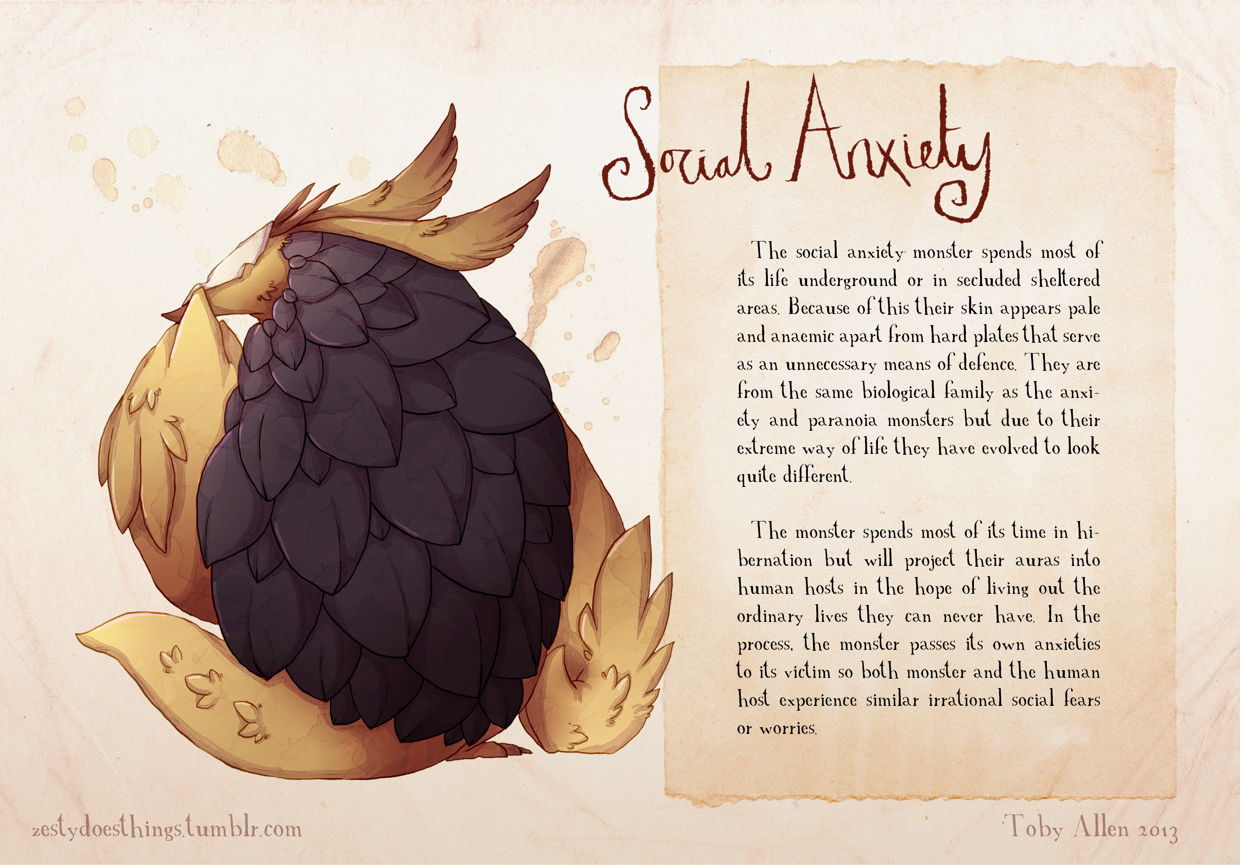 16-Social-Anxiety-Toby-Allen-Monster-Illustrations-to-Embody-Mental-Illness-www-designstack-co
