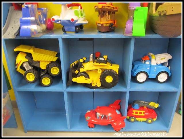 photo of: Preschool Shelves Organize Over-sized Toys (Organizational RoundUP via RainbowsWIthinReach)