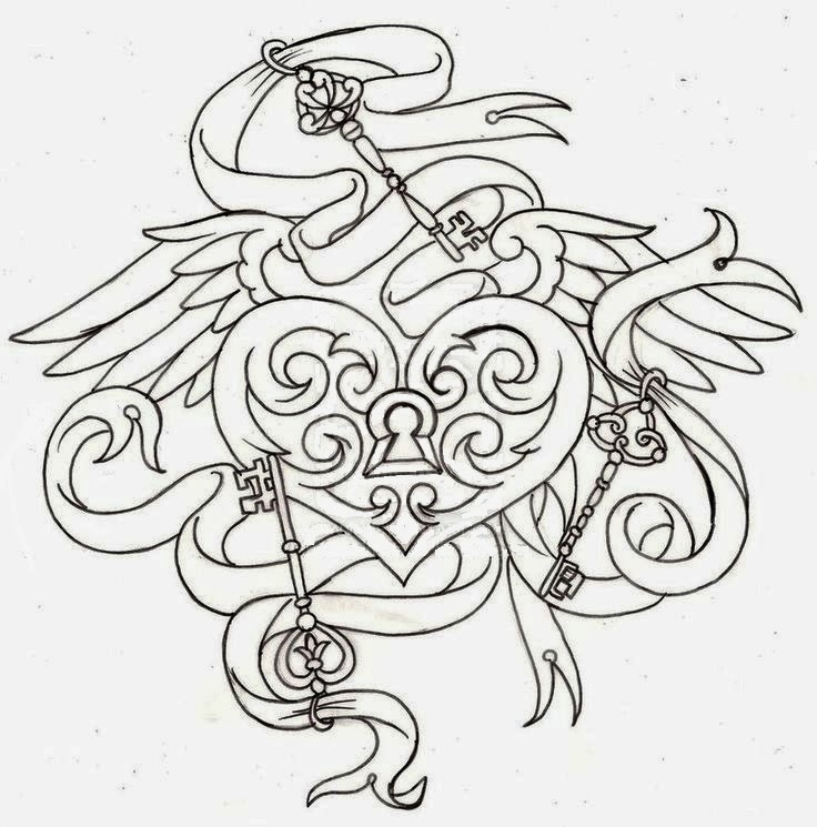 Key heart and wings biomechanical (steampunk) tattoo stencil