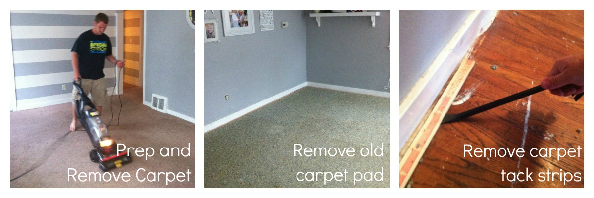 Do you see all that paint on the floor? It looked like the people who  renovated the house knew they were going to lay carpet down after they  painted the ... - How To Remove Carpet And Refinish Wood Floors: PART 1 - Classy Clutter