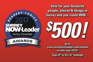Please vote for us as your Favorite Tattoo & Piercing Studio in Surrey - and you could win too!