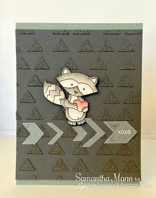 Raccoon Valentine Card by Samantha Mann for Newton's Nook Designs