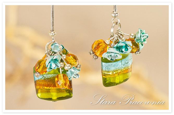 Kolczyki, Kolczyki ręcznie robione, Biżuteria autorska, Unikatowa biżuteria, rękodzieło, szkło weneckie, kolczyki ze szkłem weneckim