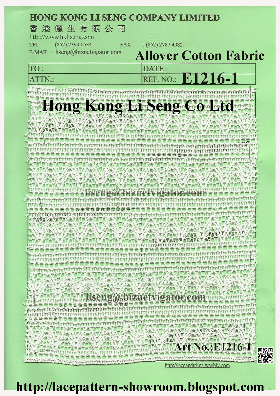 All-Over Cotton Lace Fabric Manufacturer Wholesale and Supplier - Hong Kong Li Seng Co Ltd