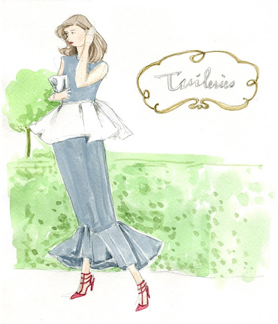 illustration streetstyle sketch in the Tuileries garden in blue peplum dress and red valentino heels