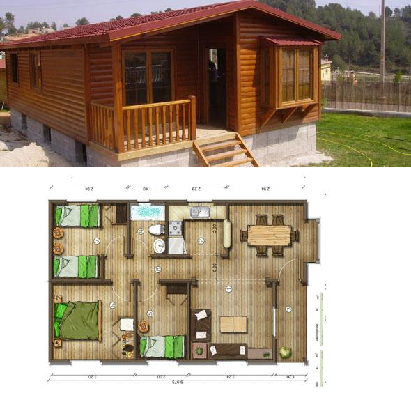 Casas de madera en espa a planos de casas de madera 62 m2 - Planos de casas de madera ...