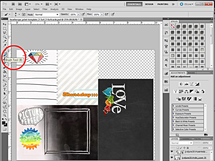 Heather Greenwood | an Adobe Photoshop tutorial using png brushes, stamps and cut files and altering them... also using abr files