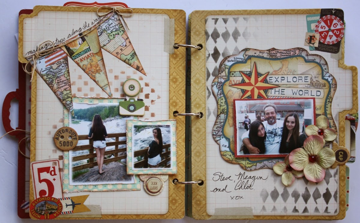 Mini Album by Gabrielle Pollacco using Bo Bunny Souvenir collection papers, chipboard album, blooms, inks, buttons, stickers and Noteworthy die cuts