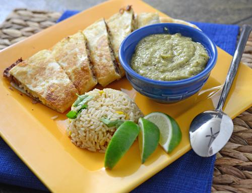 brisket quesadilla with creamy green sauce