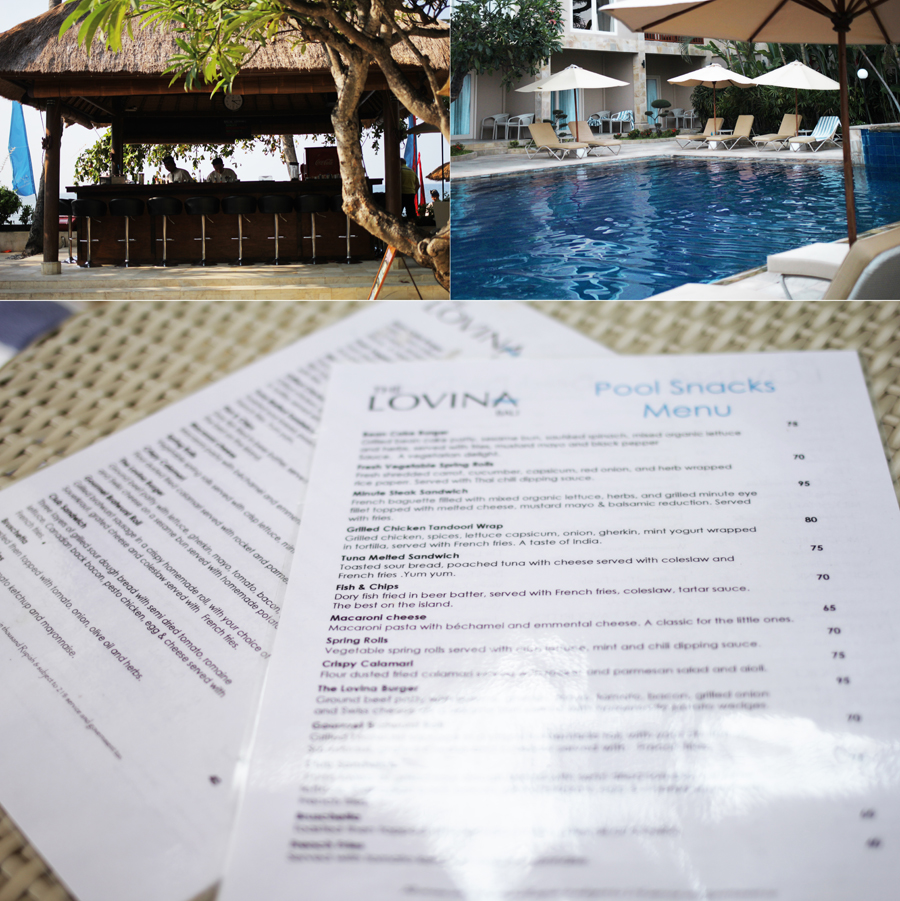 pool menu food bar drinks