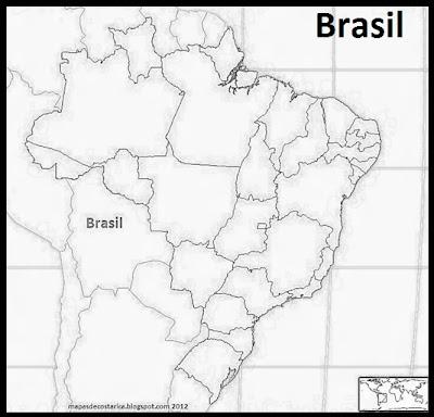 Mapa de los Estados de Brasil,  Blanco y negro. Seterra